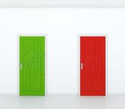Red and green door Royalty Free Stock Photos