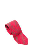 Red with green dots business neck tie Stock Photo