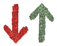Red Green Down Up Money. Red and green up and down arrows composed of US dollar bills royalty free stock photo