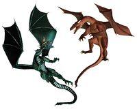Red and Green Dragons Fighting. Red and Green dragon fighting an aerial battle, 3d digitally rendered illustration Royalty Free Stock Images
