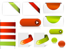 Red and green elements for web pages. Buttons, navigation, pointers, arrows, badges, ribbons royalty free illustration