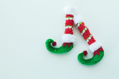 Red and green elf boots isolated on white Royalty Free Stock Image