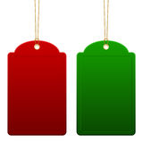 Red and green empty price tags Royalty Free Stock Photos