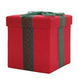 Red and Green Fabric Gift Box Stock Photos