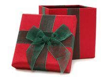 Red and Green Fabric Gift Box Royalty Free Stock Photos