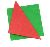 Red and green festive paper napkins, serviettes isolated on whit Stock Image