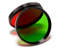 Red and green filters 2. Red and green photographic filters projecting colorful light Stock Photo