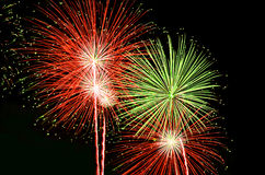 Red and green fireworks Royalty Free Stock Image