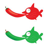 Red and green fish with chillies vector Stock Image