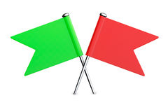 Red and Green Flag Pins. 3d Rendering Stock Photos