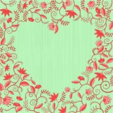 Red-green floral heart shaped pattern Royalty Free Stock Photography