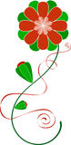 Red & Green Flower. Red flower with green petals, two buds and ribbon around stem stock illustration