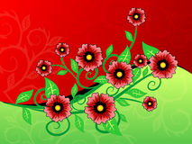 Red and green flower background. Vector Vector Illustration