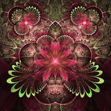 Red and green fractal flowers Stock Photography