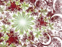 Red and green fractal flowers. Digital artwork for creative graphic design Stock Image