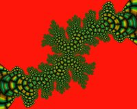 Red green fractal, flowery elegant sparkling contrasts lights, texture, abstract background. Red green contrasts flowery sparkling diamond shapes fantasy bright royalty free illustration