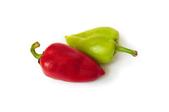 Red and green fresh bell papers with clipping path. Royalty Free Stock Photos