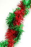Red and green garland - corner to corner. Arrangement of green and red garland braided corner to corner royalty free stock photography