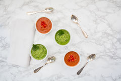 Red and green gazpacho Royalty Free Stock Photos