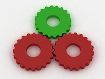 Red and green gears. 3d generated Royalty Free Stock Photography