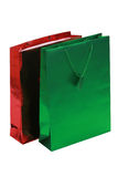 Red and green gift bags Stock Photos
