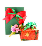 Red and green gift box with ribbon. On white background Stock Images