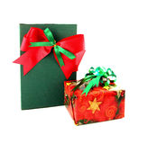 Red and green gift box with ribbon Stock Photography