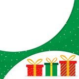 Red and green gift boxes christmas banner Royalty Free Stock Photography