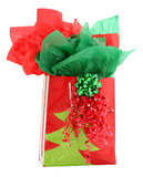Red and Green Gift Holiday Gift Bag. Christmas gift back in red and green over white Royalty Free Stock Image