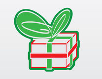 Red and Green Gift Outline Graphic Stock Image