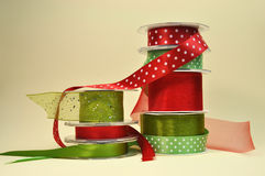 Red and Green Gift Wrapping Ribbon. Colorful red and green festive ribbon for Christmas, holidays or special occasion presents Royalty Free Stock Image
