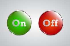 Red and green glass buttons with metallic frame. Glossy icons for web. Vector design round with silver text On and Off. enable and disable Stock Photo