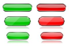 Red and green glass 3d buttons with chrome frame. Oval icons. Vector illustration isolated on white background Stock Image