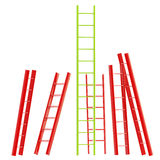 Red and green glossy ladder isolated Stock Photos
