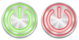 Red and green glowing power button Royalty Free Stock Photos