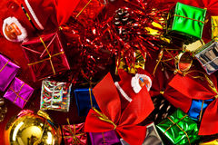 Red, Green, Gold, and Silver Wrapped Holiday Chris Royalty Free Stock Photography