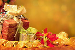 Red, Green, Gold, and Silver Wrapped Holiday Chris Stock Image