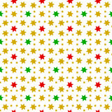 Red, green and gold stars in seamless pattern on white Royalty Free Stock Images