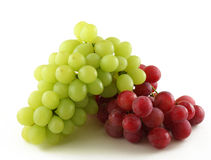 Red and green grapes. Isolated on white Stock Images