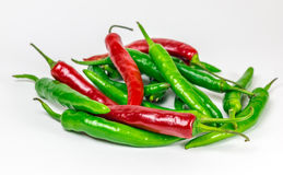 Red-green group of chili pepper, isolated. On a white background Stock Photo
