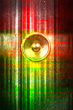 Red and green grunge music speaker Stock Photo