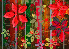 Red and green grungy flowers Royalty Free Stock Photo