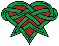 Red and green heart. Ancient heart like knot on white background. Cartoon Celtic pattern Royalty Free Stock Photography