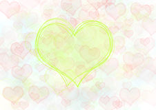 Red and green hearts. Background Stock Images