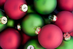 Red and Green Holiday Balls Stock Photo