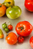 Red And Green Homegrown Tomatoes Stock Photo