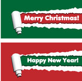 Red and green horizontal banners with torn rolled paper stripes. Ripped festive, winter holidays vector frames. New year and merry christmas greetings royalty free illustration