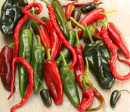 Red and Green Hot Chili Pepper Varieties Royalty Free Stock Image