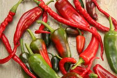 Red and Green Hot Chili Pepper Varieties Royalty Free Stock Images