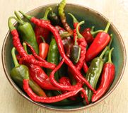 Red and Green Hot Chili Pepper Varieties Stock Photography